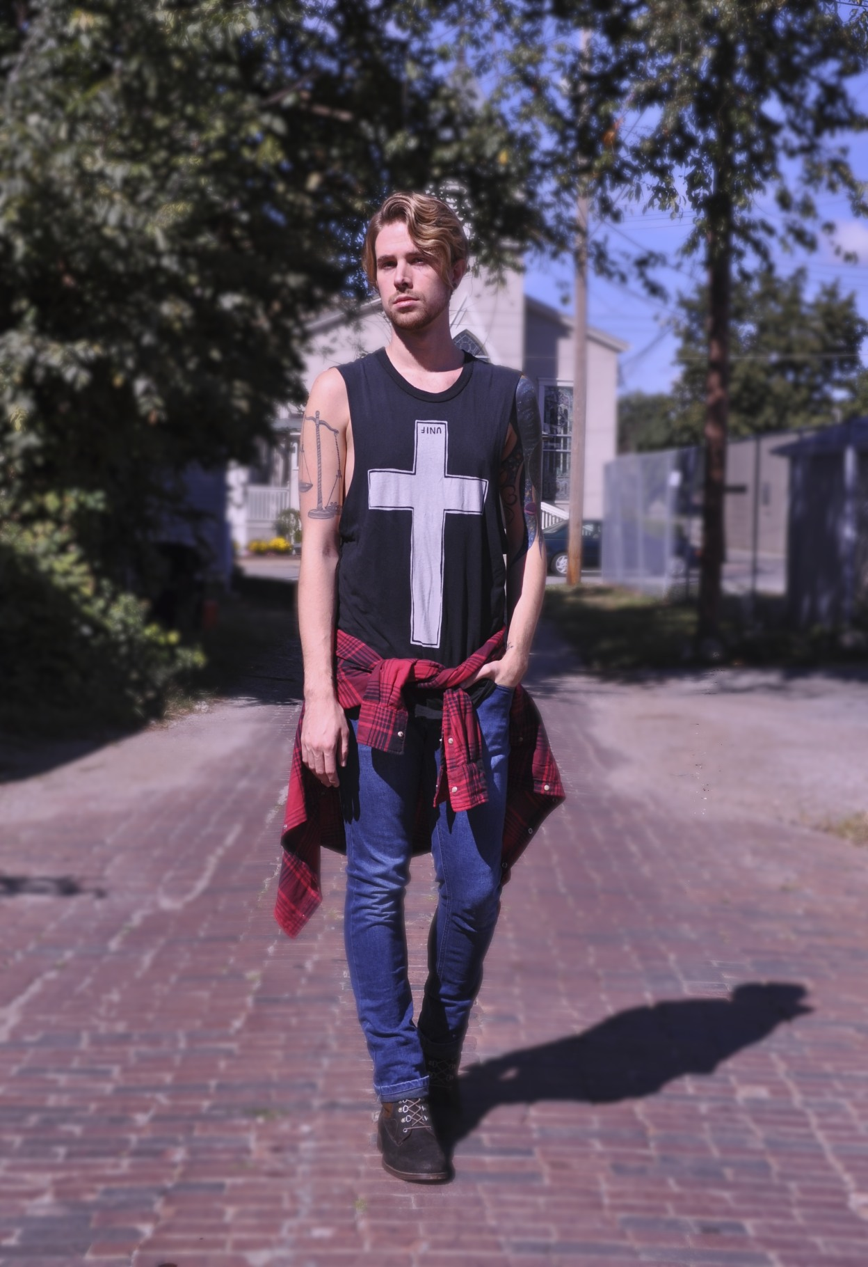 UNIF Worship Tank with JACHS Buffalo Plaid Shirt over Topman Denim with J Shoes Boots