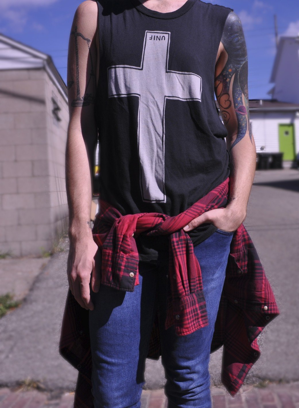 UNIF tank with JACHS buffalo plaid shirt over Topman denim with a Galaxy Print Tattoo