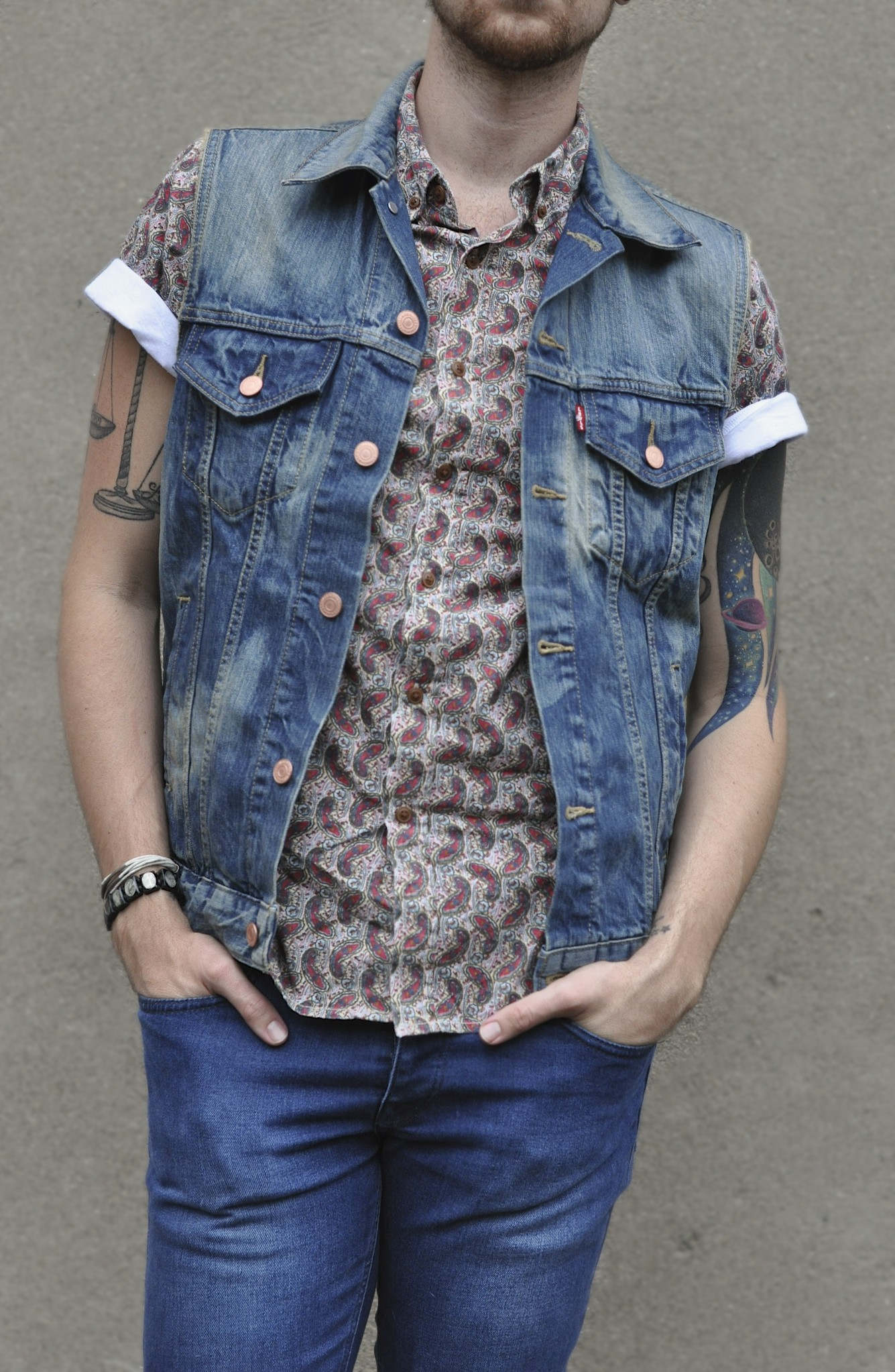 Obey paisley shirt with denim Levis west and Topman denim with J Shoes Boots