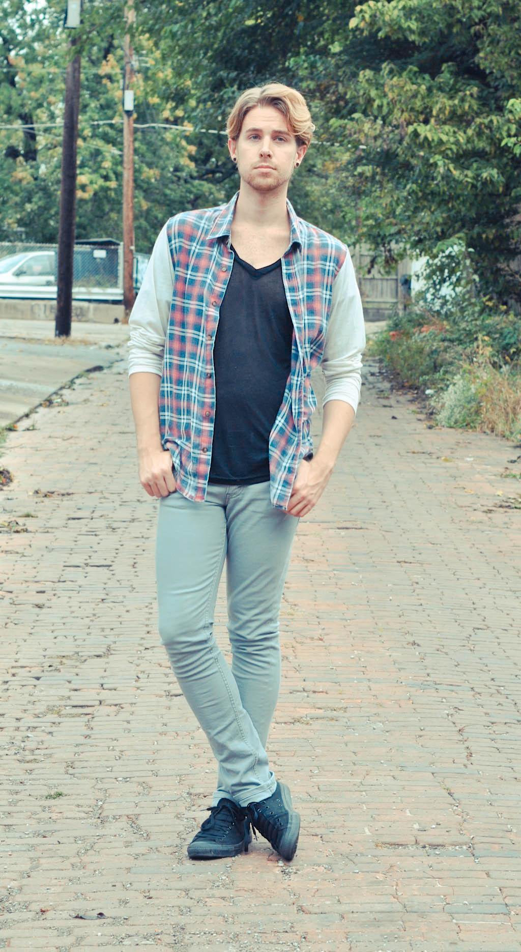 color-fast-plaid-shirt-american-apparel-v-neck-t-shirt-levis-jeans-converse-chucks