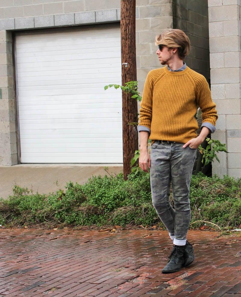 hawkings-mcgill-polka-dot-hm-mustard-sweater-tripp-nyc-camo-pants-topman-boots