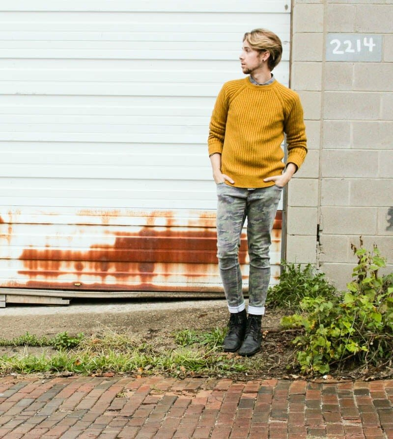 hawkings-mcgill-polka-dot-shirt-hm-mustard-sweater-topman-boots-tripp-nyc-camo-pants