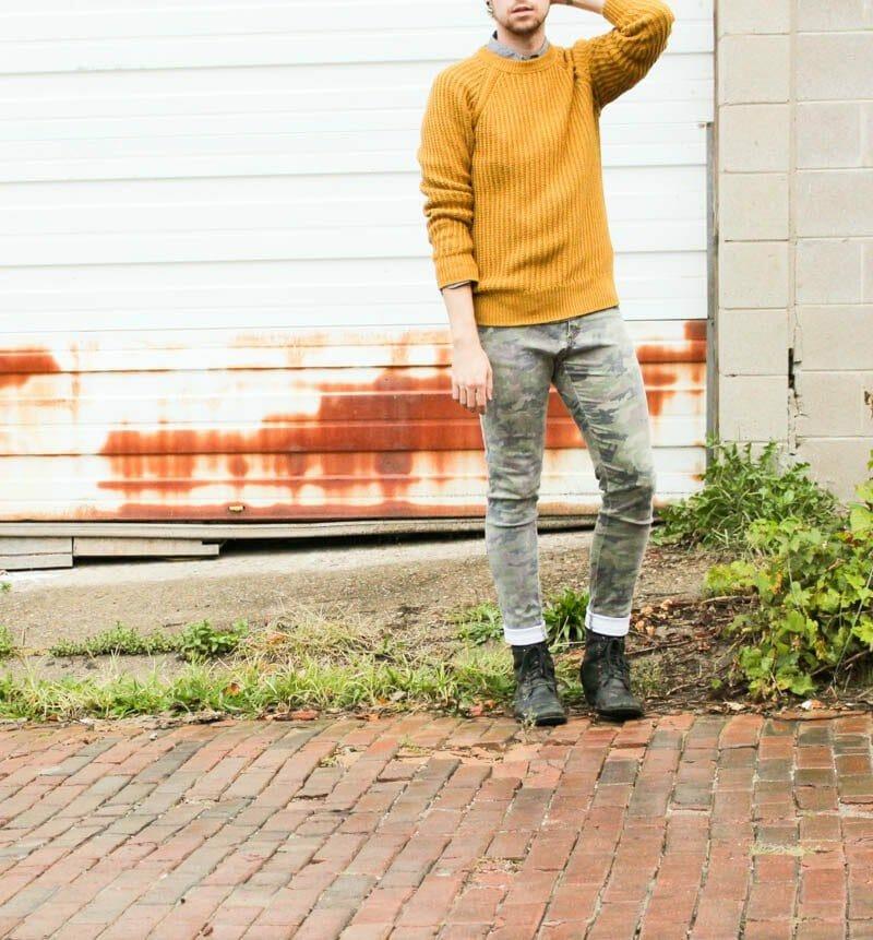mustard-hm-sweater-hawkings-mcgill-polka-dot-tripp-nyc-camo-pants-topman-boots