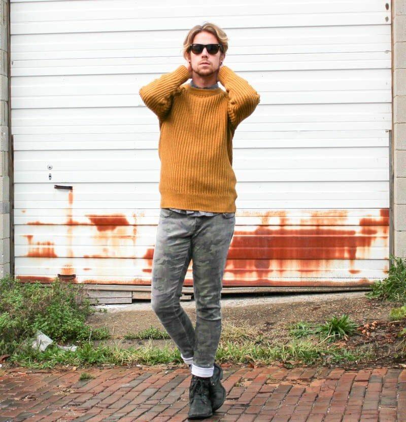 rayban-wayfarers-hm-mustard-sweater-hawkings-mcgill-polka-dot-tripp-nyc-camo-pants-topman-boots