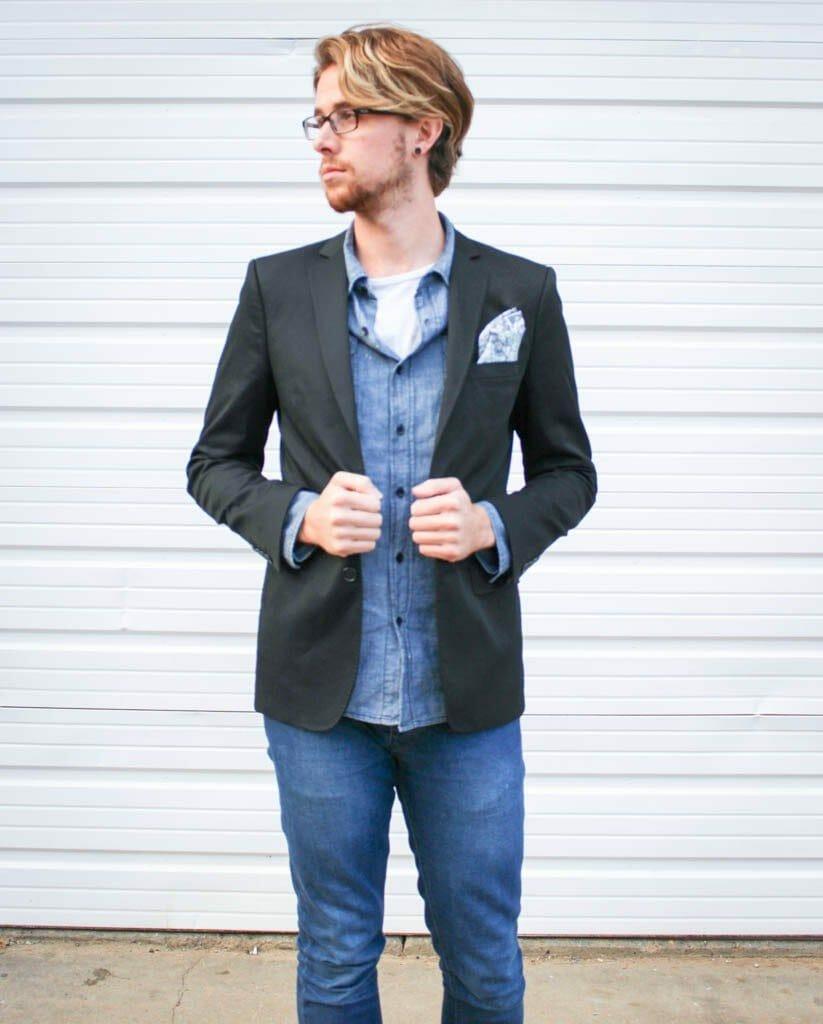 The Kentucky Gent in a Zara Blazer, 21Men Denim Shirt, Kill City