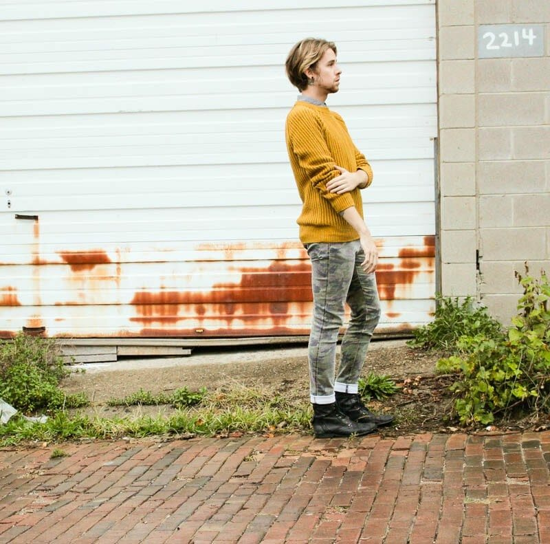topman-boots-hawkings-mcgill-polka-dot-shirt-mustard-hm-sweater-tripp-nyc-camo-pants