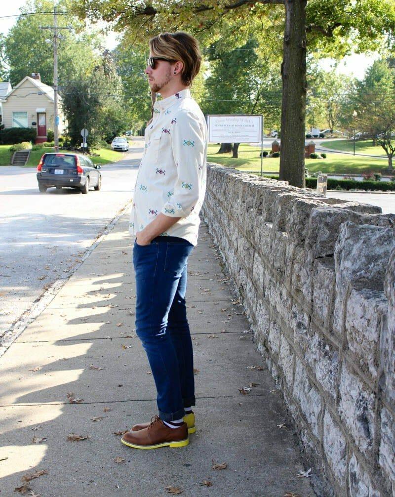 topman-button-down-aztec-print-shirt-topman-camo-jeans-jd-fisk-valdez-rayban-wayfarers