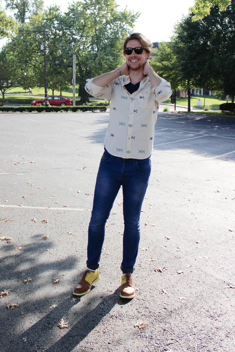topman-camo-jeans-jd-fisk-valdez-topman-button-down-shirt-aztec-print-blue-v-neck-bdg-t-shirt