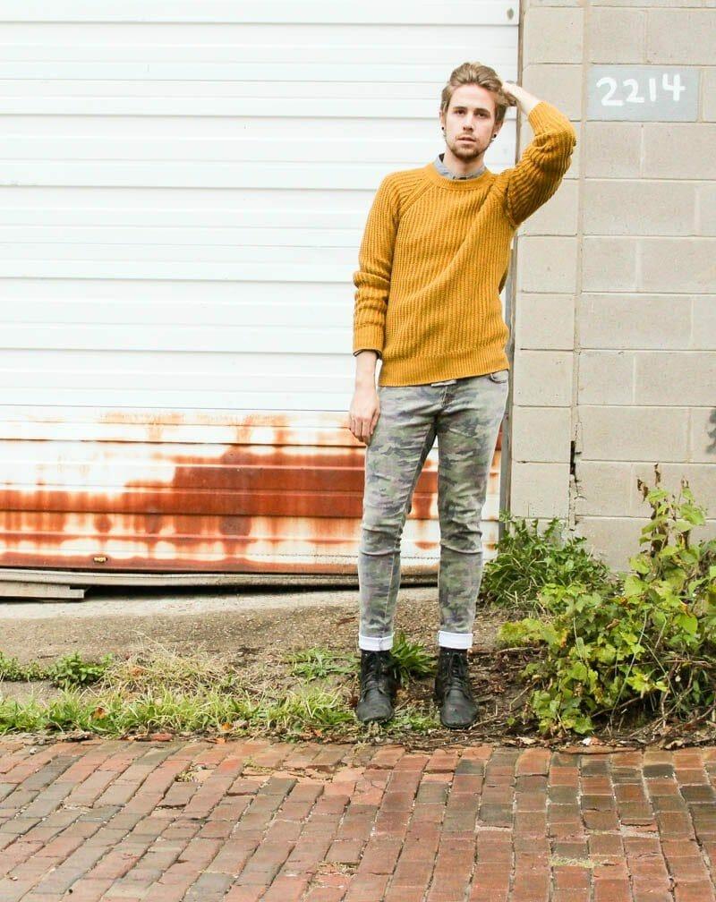 tripp-nyc-camo-pants-topman-boots-hawkings-mcgill-polka-dot-hm-mustard-sweater