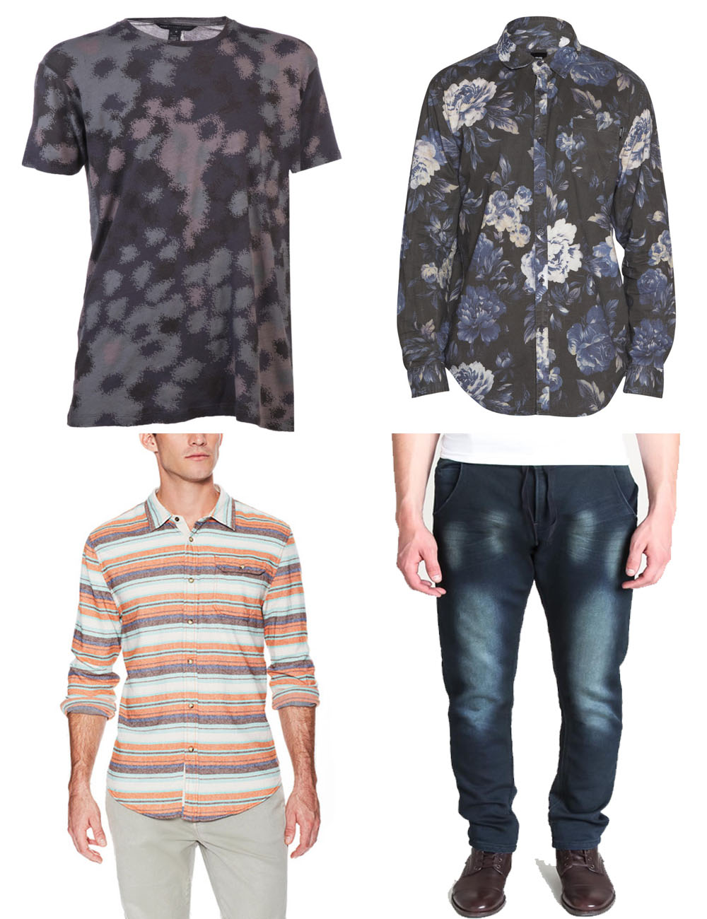 The Kentucky Gent's Black Friday Steals including Marc by Marc Jacobs Camo T-Shirt and JACHS Shirt from Gilt Groupe, and Paul Rizk Jeans and Insight Floral Shirt from Jack Threads