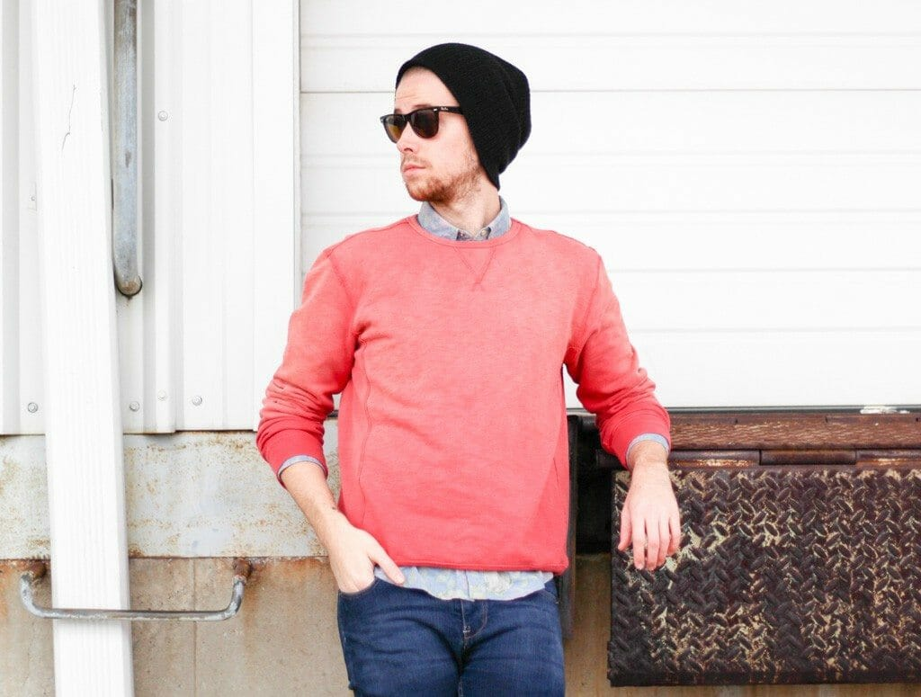 The Kentucky Gent in 21Men Sweatshirt, Floral Print Denim Shirt from Topman, Jeans from Reco, 21Men Beanie, Ray-Ban Wayfarers, Steve Madden Troopah2 Boots