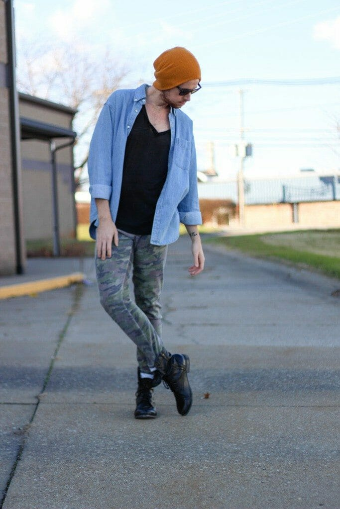 The Kentucky Gent in American Apparel V-Neck T-Shirt, J Crew Denim Shirt, Tripp NYC Camo Pants, 21Men Beanie, Ray-Ban Wayfarers, Steve Madden Troopah2 Boots