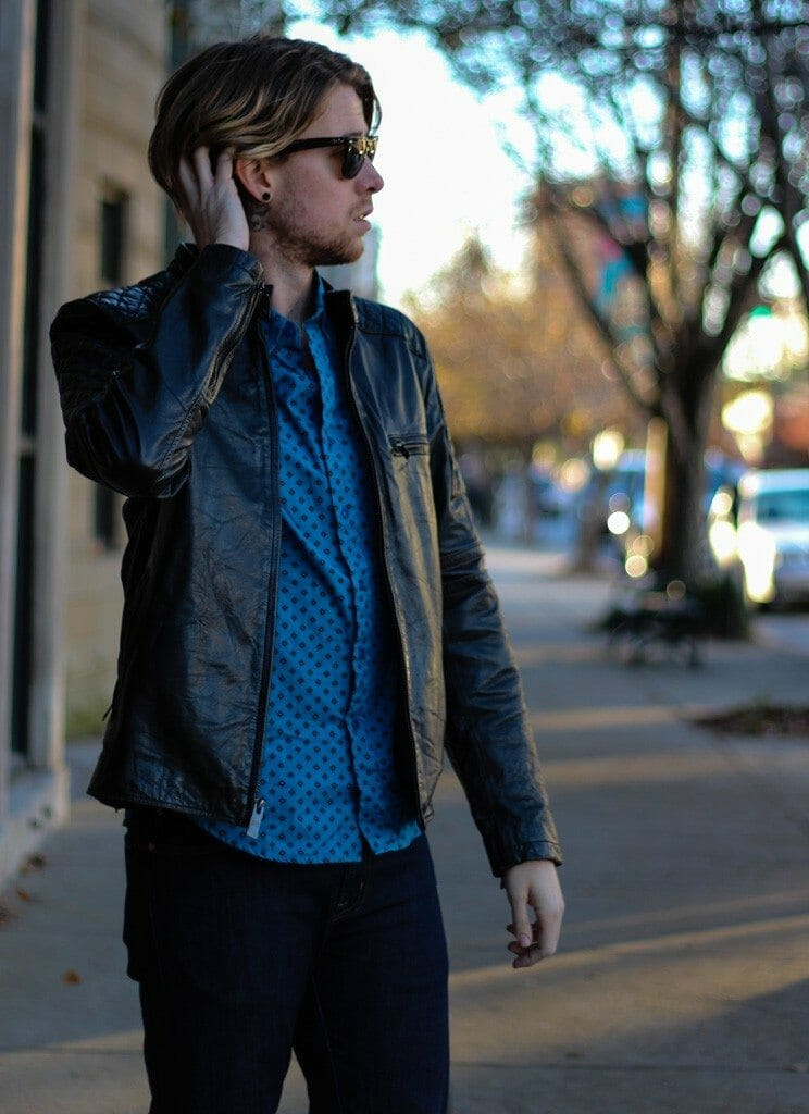 The Kentucky Gent in Obey Woven, Andrew Marc Leather Jacket, WESC Jeans, and J Shoes Boots