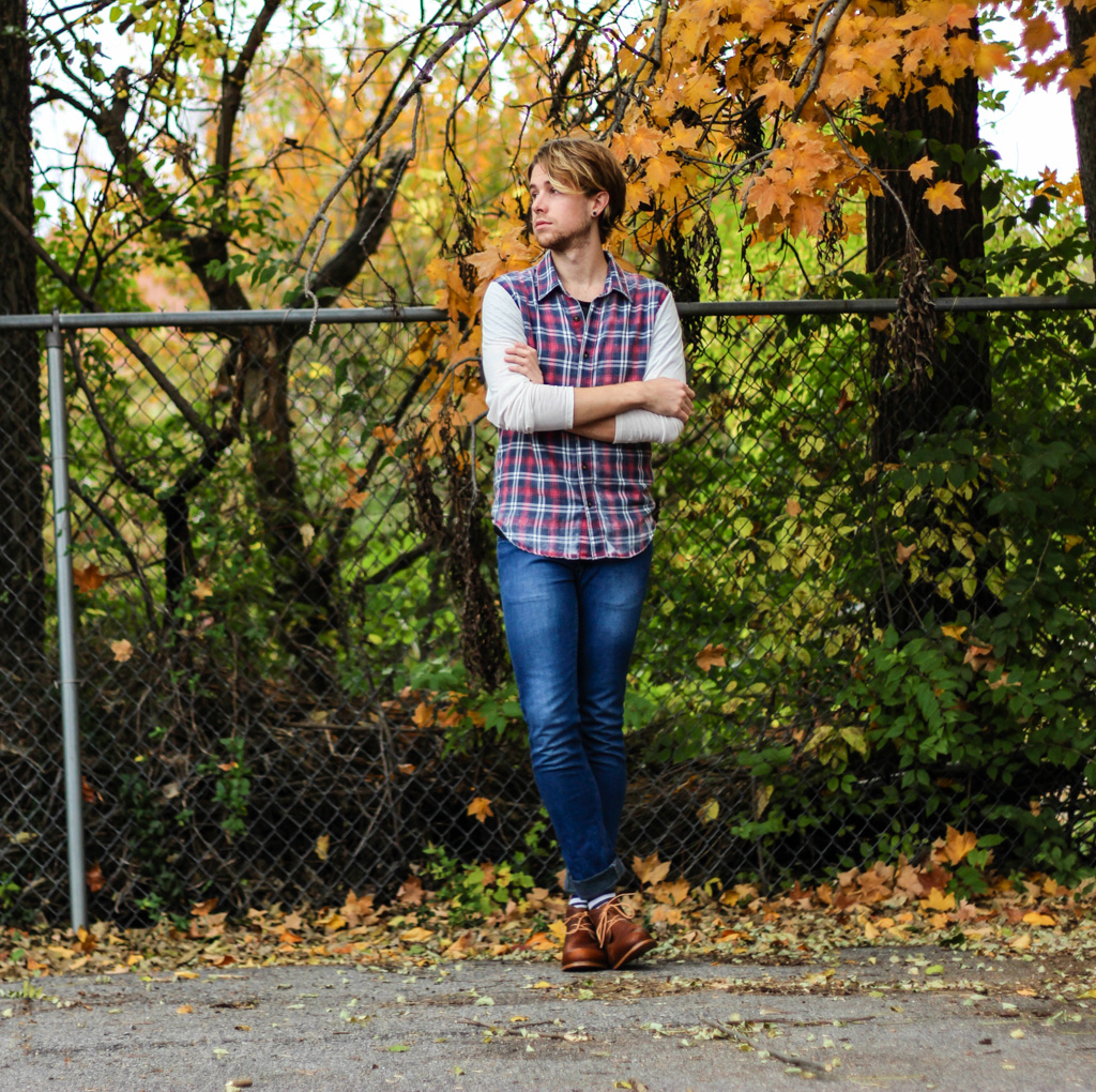 The Kentucky Gent in a Plaid Shirt by Color Fast, Jeans by Topman, and Monarch Chukka Boot by J Shoes