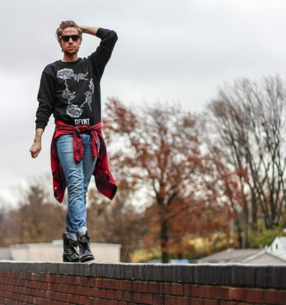 The Kentucky Gent in DFYNT Sweatshirt, JACHS Plaid Shirt, WeSC Jeans, Steve Madden Troopah2 Boots, and Ray-Ban Wayfarers