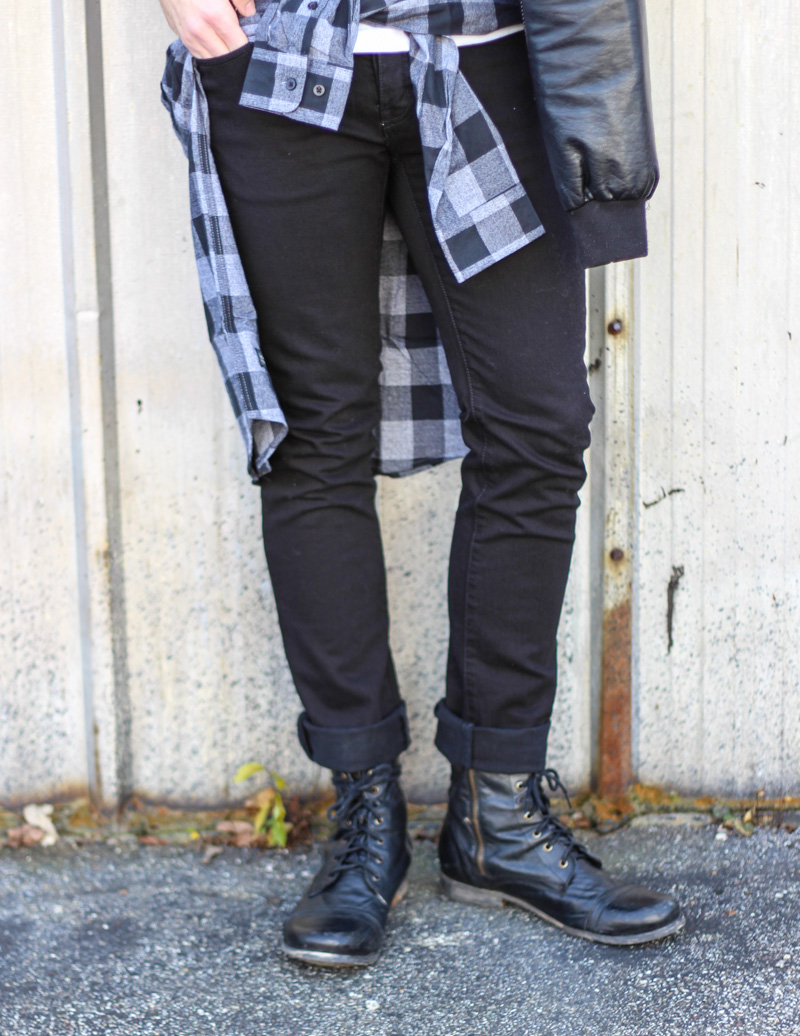 The Kentucky Gent in DFYNY T-Shirt, WeSC Plaid Shirt, KR3W Jeans, Black Apple Leather Jacket, Steve Madden Troopah 2 Boots, Ray-Ban Wayfarers