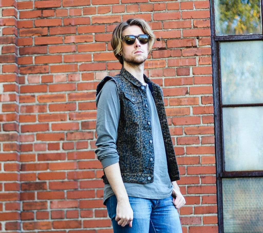 The Kentucky Gent in Ray-Ban Wayfarers, KR3W Long Sleeve Shirt, Kill City Leopard Print Denim Vest, WESC Jeans, Bed Stu Boots