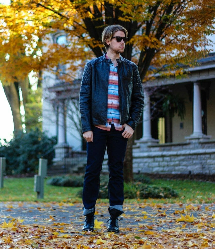 The Kentucky Gent in Marc Moto by Andrew Marc Crop Racer Leather Jacket, KR3W Dreamer Long Sleeve Woven Shirt, People Vs. West Jeans, and Troopah2 Boots from Steve Madden