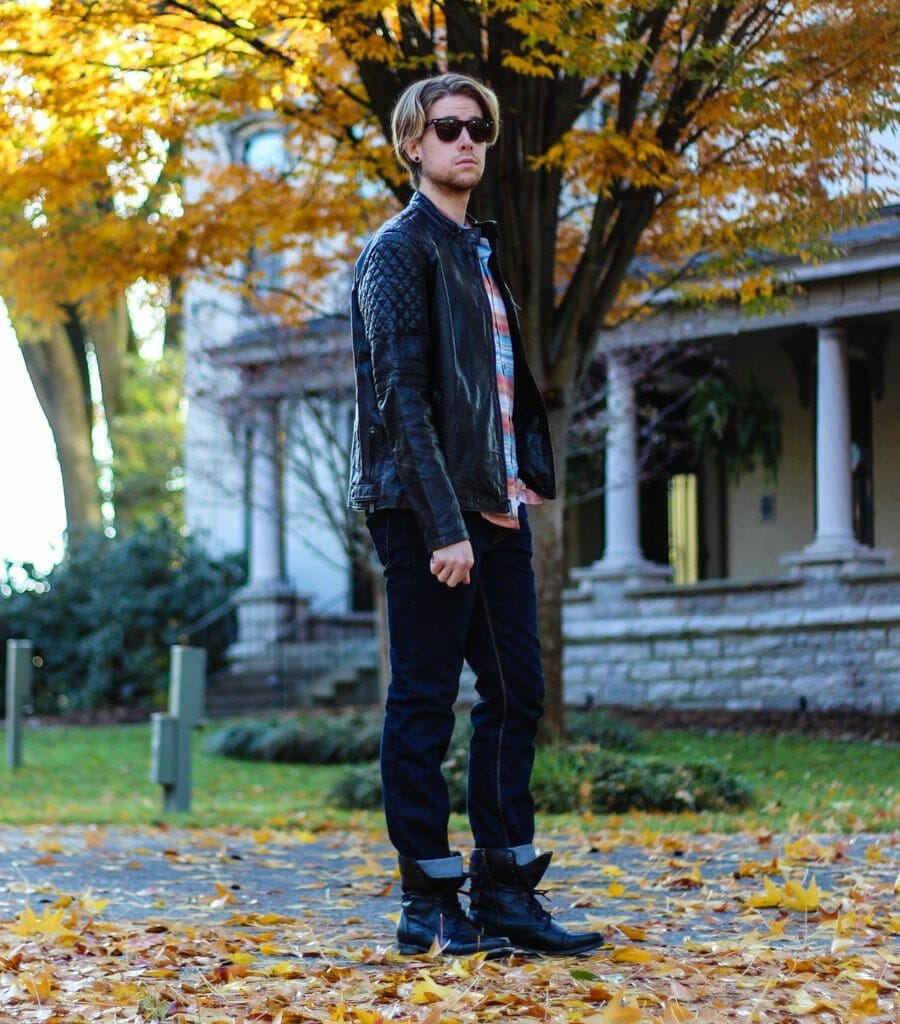 The Kentucky Gent in Marc Moto by Andrew Marc Crop Racer Leather Jacket, KR3W Oath Long Sleeve Woven Shirt, People Vs. West Jeans, and Troopah2 Boots from Steve Madden
