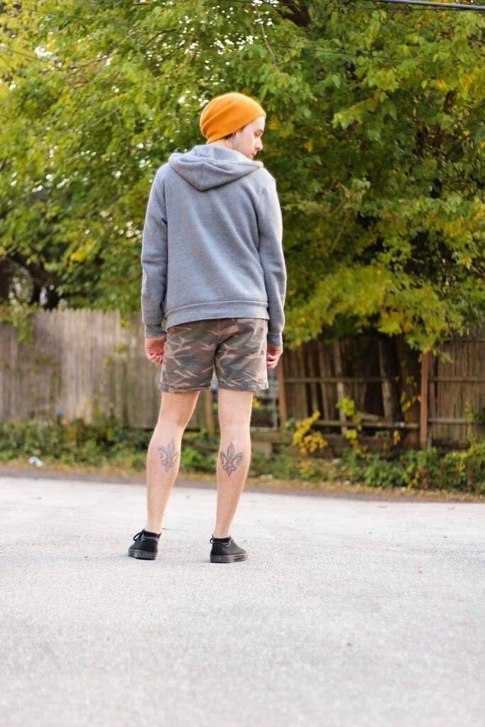 The Kentucky Gent in Camo Shorts by Topman, V-Neck by BDG, Hoodi