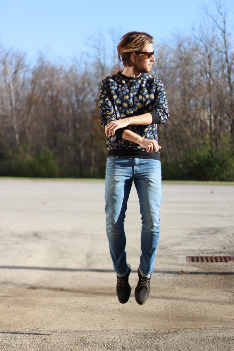 The Kentucky Gent in WeSC Digital Leopard Print Sweatshirt, WeSC Eddy Jeans, J Shoes, and Ray-Ban Wayfarers