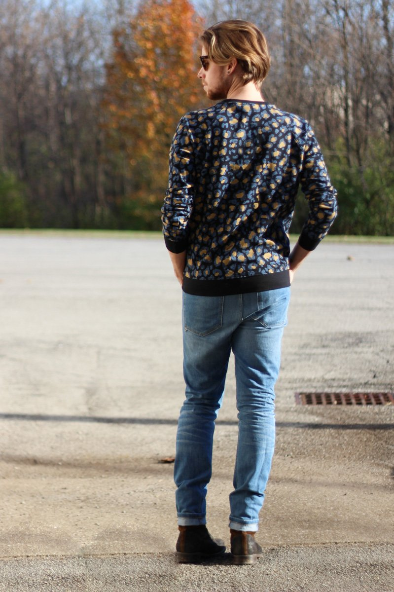The Kentucky Gent in WeSC Digital Leopard Print Sweatshirt, WeSC Eddy Jeans, J Shoes, and Ray-Ban WayfarersThe Kentucky Gent in WeSC Digital Leopard Print Sweatshirt, WeSC Eddy Jeans, J Shoes, and Ray-Ban Wayfarers