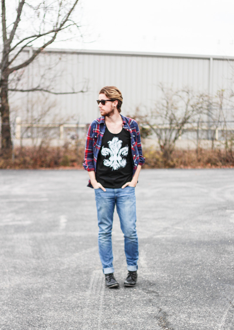 The Kentucky Gent in Evolution Stops Here Battle Louisville Tank Top, WeSC Eddy Jeans, Steve Madden Troopah Boots, 21Men Plaid Shirt, and Ray-Ban Wayfarers