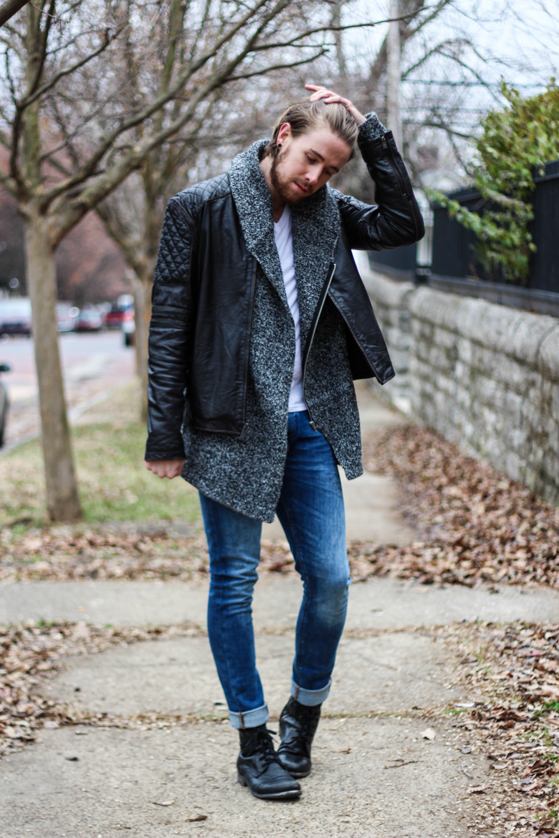 The Kentucky Gent in H&M Full Zip Sweater, Andrew Marc Leather Jacket, Zara Jeans, Steve Madden Troopah 2 Boots, and BDG V-Neck