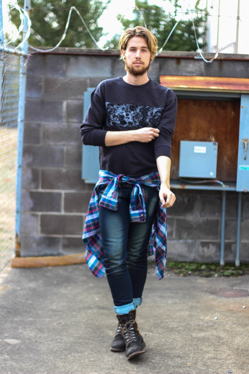 The Kentucky Gent in HM Sweatshirt, Vintage J Crew Plaid Shirt, Paul Rizk Jeans from JackThreads, and J Shoes Boots
