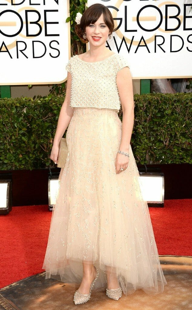 Zooey Deschanel in Oscar de la Renta at the 2014 Golden Globes
