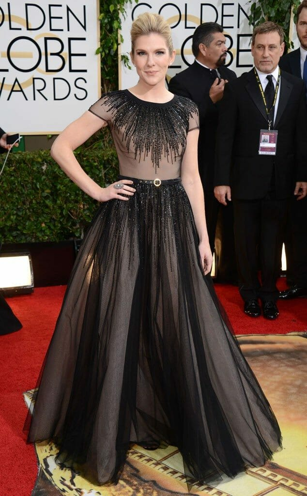 Lily Rabe in George Hobeika at the 2014 Golden Globes
