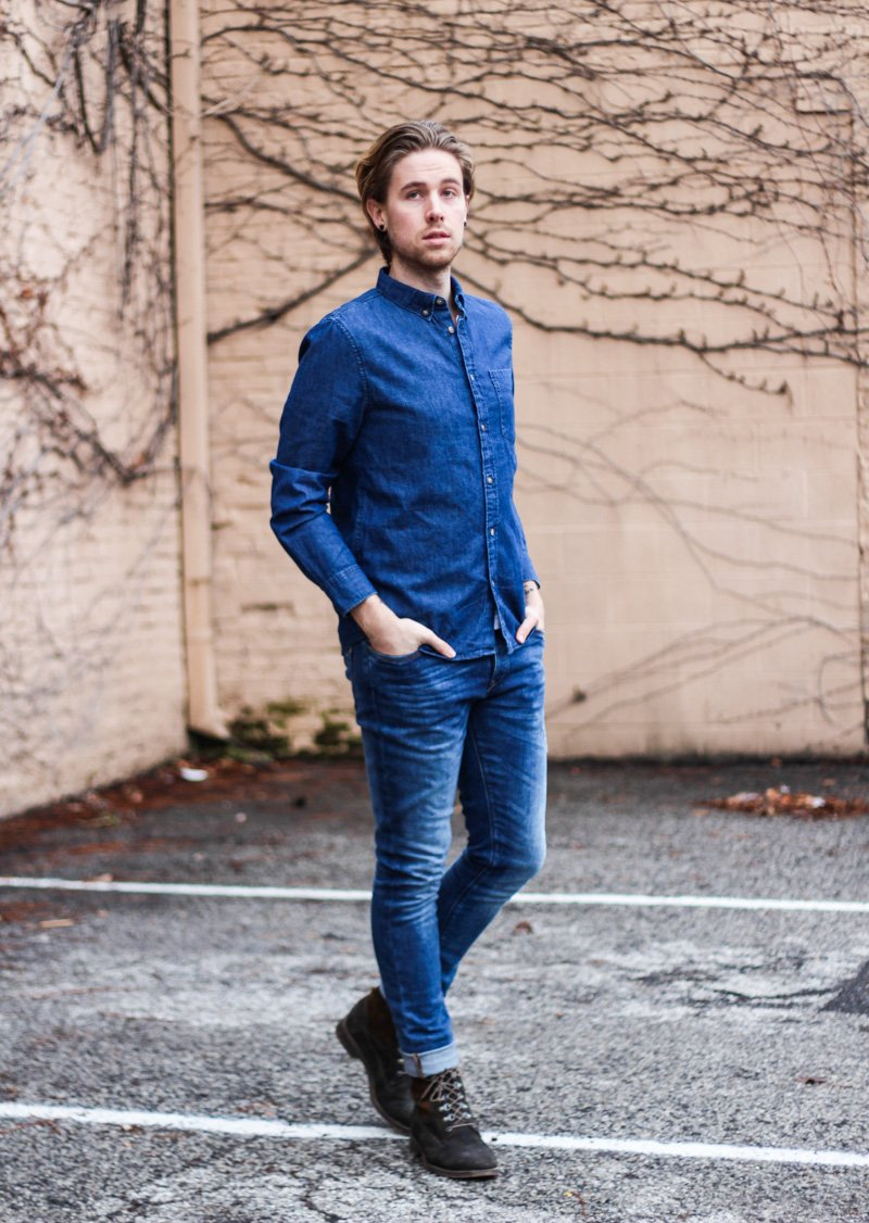 The Kentucky Gent in H&M Denim Shirt, Zara Jeans, and J Shoes Boots