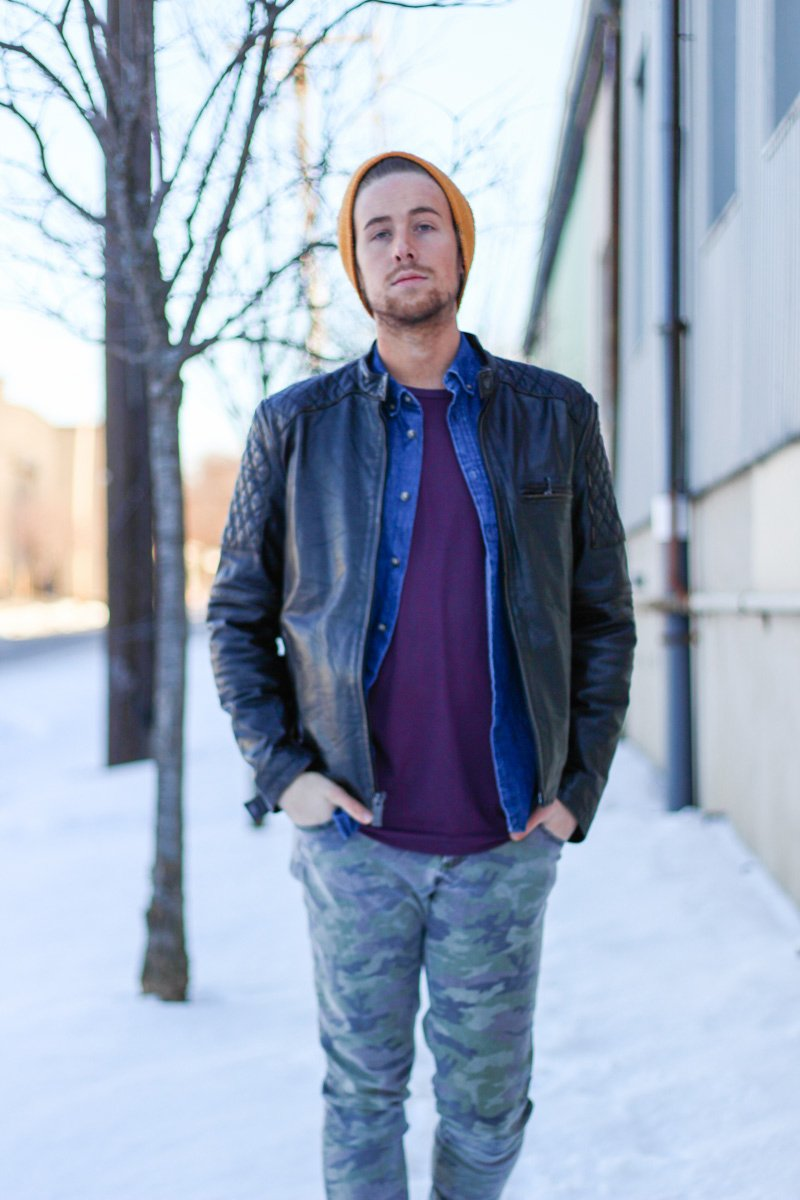 The Kentucky Gent in Topman Mesh Shirt, HM Denim Shirt, Andrew Marc Leather Jacket, Tripp NYC Camo Pants, Steve Madden Troopah2 Boots, and 21 Men Beanie
