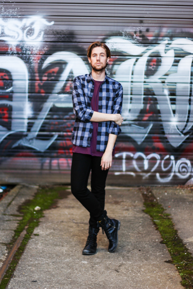 The Kentucky Gent in Topman Mesh Shirts, WeSC Plaid Shirt, KR3W Black Jeans, and Steve Madden Troopah 2 Boots