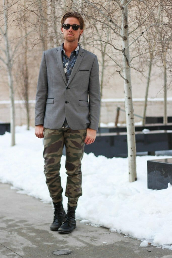 The Kentucky Gent at NYFW in H&M Blazer, Insight Floral Shirt, Dickies Camo Pants, Steve Madden Boots, and Rayban Wayfarers