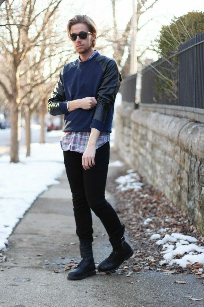 The Kentucky Gent Colorfast Plaid Shirt, Narrows Sweatshirt, Dr. Martens Brock Boots, Ray-Ban Wayfarers, Kr3W Denim