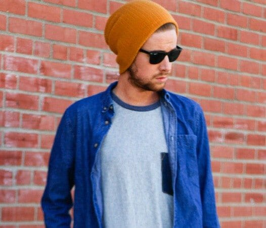 The Kentucky Gent in 21Men Beanie, Rayban Wayfarers, H&M Denim Shirt, Original Tomboy Pocket T-Shirt, H&M Drop Crotch Linen Pants, and Steve Madden Boots