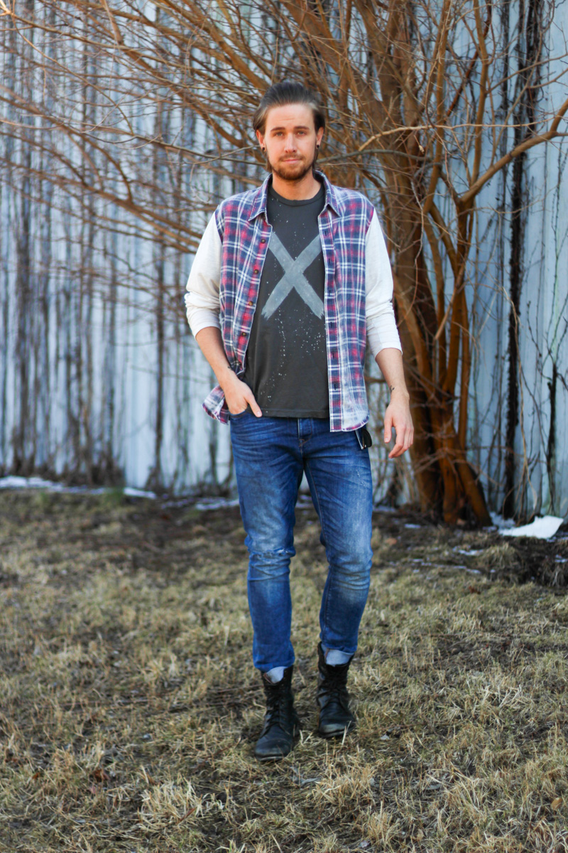 The Kentucky Gent in Colorfast Plaid Shirt, Original Tomboy Shirt, Zara Jeans, Steve Madden Boots, Original Penguin Briscoe Sunglasses