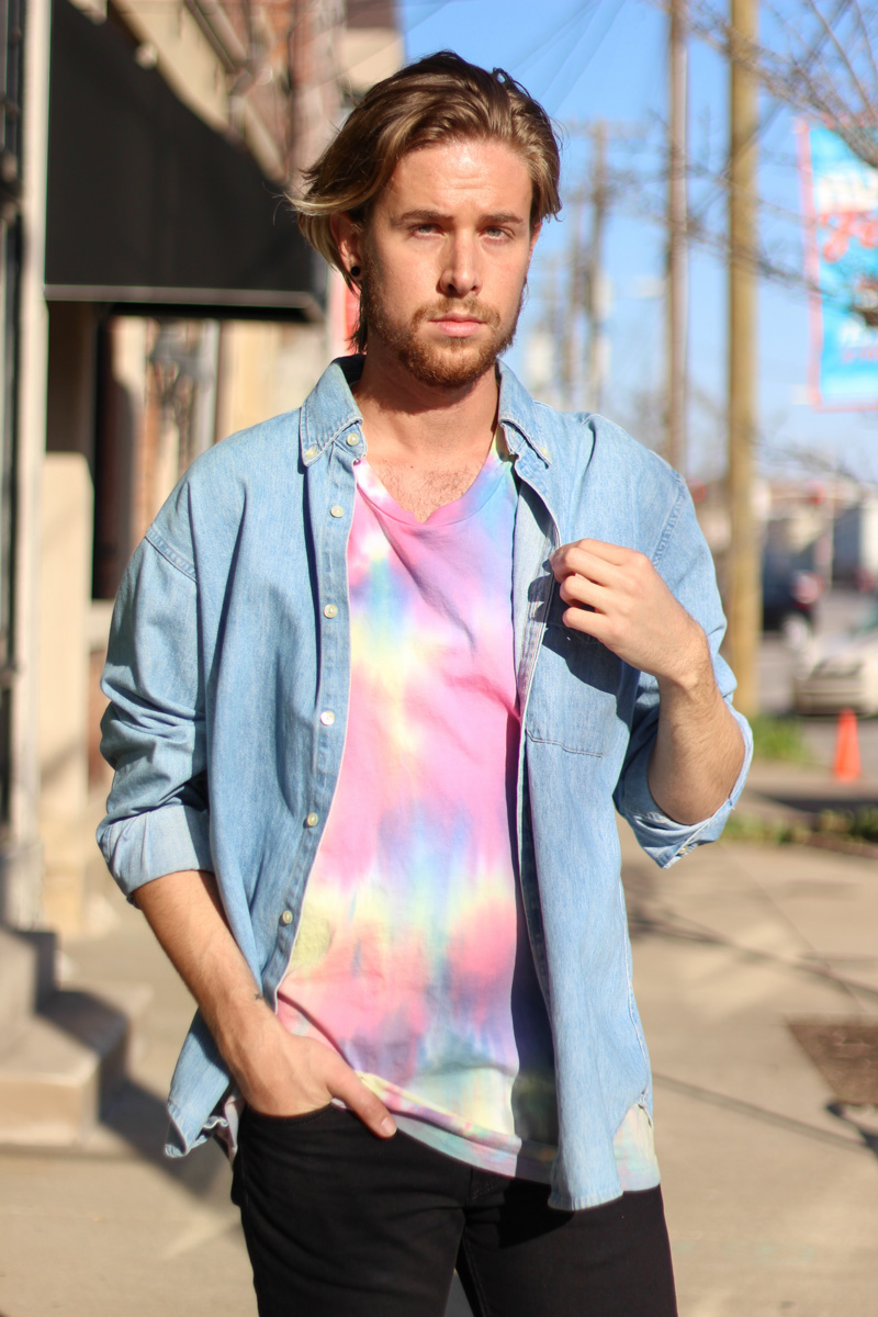 The Kentucky Gent in Vintage J. Crew Denim Shirt, Topman Tie Dye Tank Top, Levi's 511 Jeans, Steve Madden Troopah 2 Boots, Ray-Ban Wayfarers, and Ben Minkoff Jerry Pouch