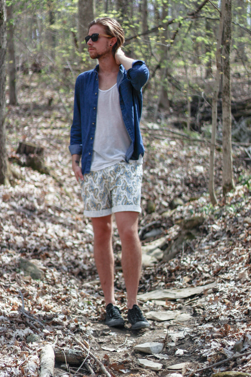 The Kentucky Gent in H&M Denim Shirt, American Apparel Tank Top, Kennington Paisley Shorts, Converse Chuck Taylors, Hammock and Palms Sunglasses