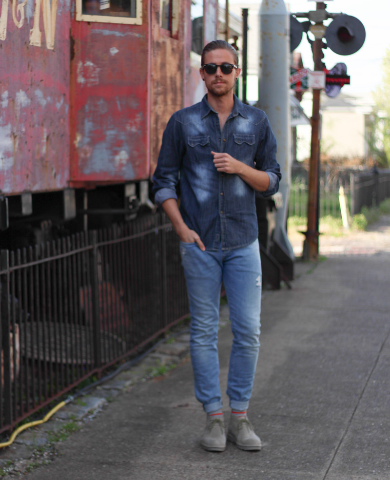 The Kentucky Gent in Spring Time Denim from H&M, JACHS Denim Shirt, Soxy Striped Socks, CAT Footwear Boots, and Original Penguin Sunglasses