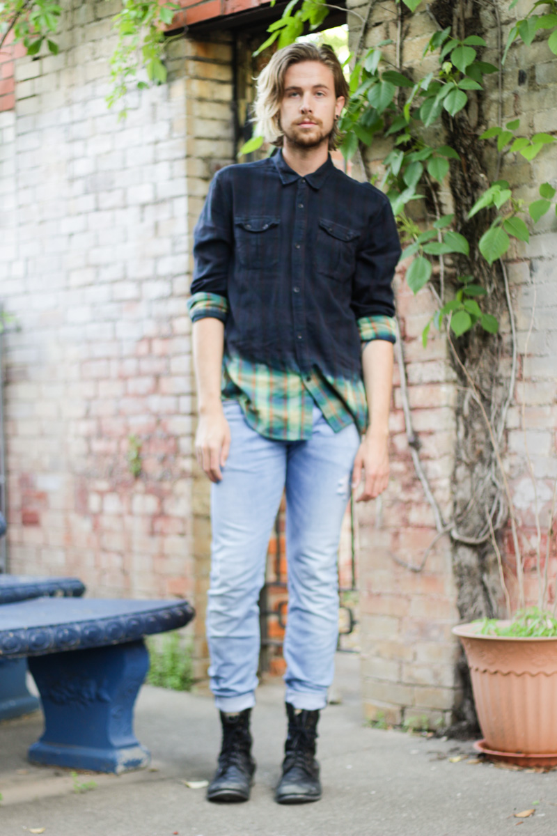 The Kentucky Gent in Devi's Harvest Ombré plaid shirt, H&M Jeans, Steve Madden Troopah Boots, and Soxy Socks.
