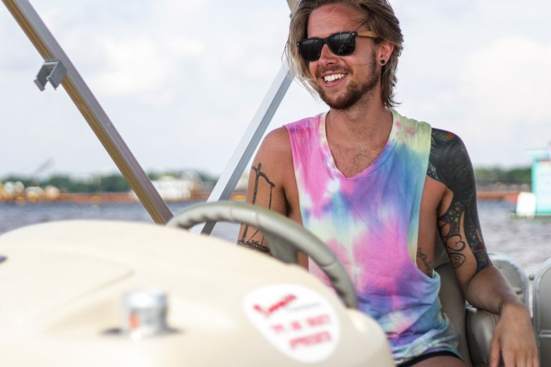The Kentucky Gent in Hammock and Palms Sunglasses, Tie Dye Topman Tank, and American Apparel Swim Trunks.