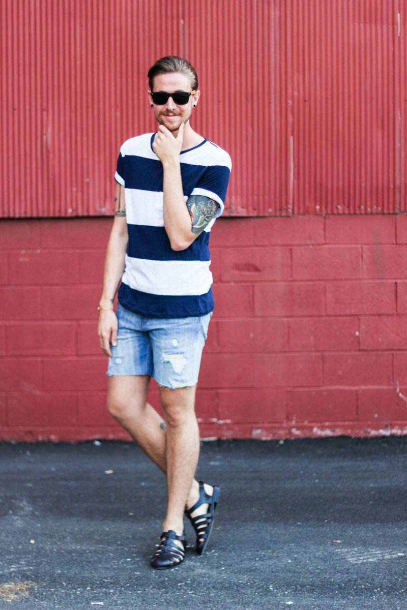 The Kentucky Gent in Hammock & Palms Sunglasses, H&M Striped T-Shirt, Levi's Cut Off Shorts, Zara Sandals, and Alex & Ani Kentucky Derby Bracelet.