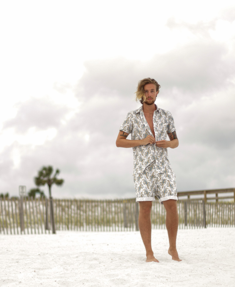 The Kentucky Gent in Kennington Man Paisley Shirt and Shorts.
