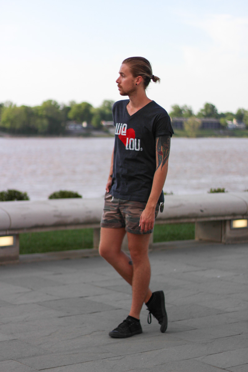 The Kentucky Gent in We Love Lou T-Shirt, Topman Camo Shorts, and Converse Chucks