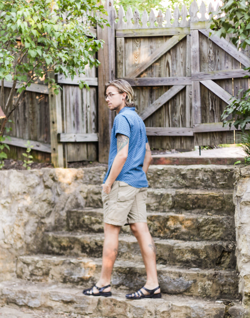 The Kentucky Gent in Original Penguin The Donovan Glasses, Obey Short Sleeve Woven Shirt, Jeremiah Clothing Shorts, and Zara Sandals.