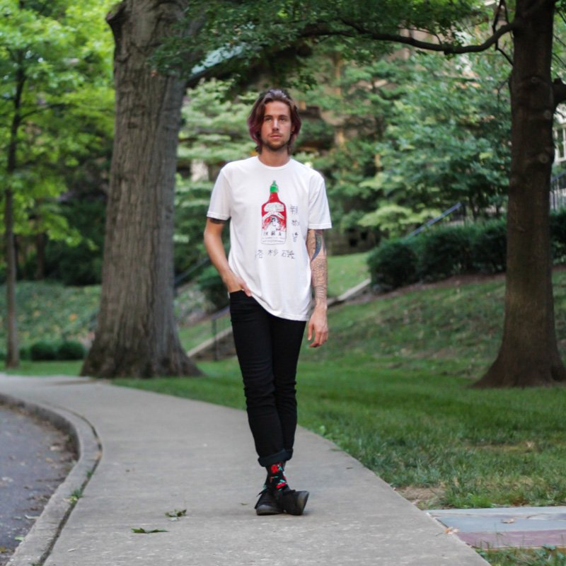 The Kentucky Gent in Custom Ketchup Sriracha T-Shirt, Levi's 511 Black Skinny Jeans, Richer Poorer Athletic Socks, and Converse Chuck Taylors.