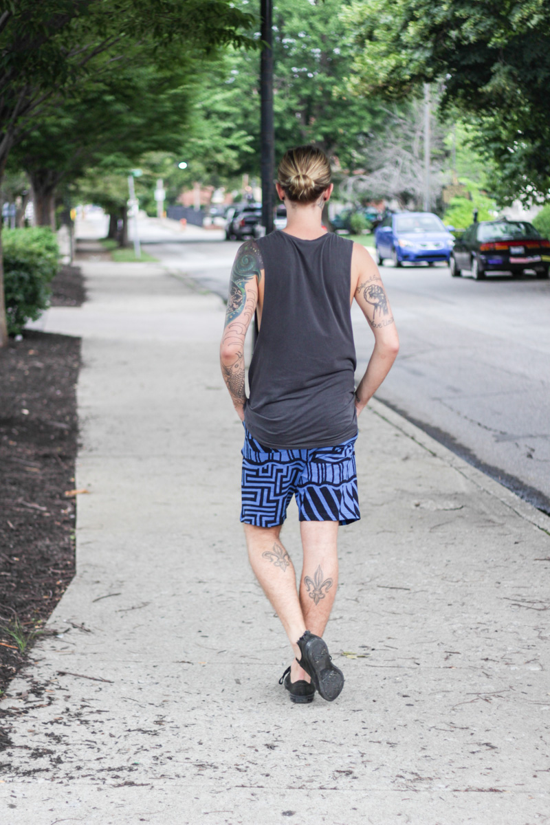 The Kentucky Gent in Obey Clothing Tank Top, Urban Outfitters Shorts, Converse Chuck Taylors, and Spy Optic Sunglasses.