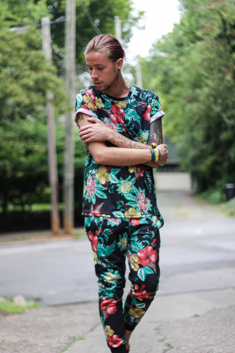 The Kentucky Gent in Jonny IV Floral Shirt, Jonny IV Floral Jogger Pants, and Zara Sandals.
